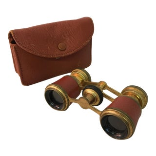 Carpentier Paris Brass and Leather Clad Opera Glasses Binoculars Vintage Optical For Sale