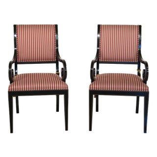Kindel Black Lacquer Neoclassical Arm Chairs - A Pair