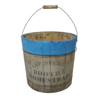 Antique American Country Primitive Connecticut Sap Bucket For Sale