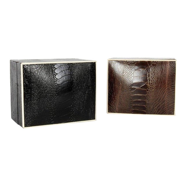 Pair of R & Y Augousti Decorative Boxes in Exotic Ostrich Leather With Bone Inlay For Sale