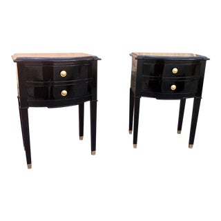 Maison Jansen Refined Pair of Black Lacquered Bedsides or Side Tables For Sale