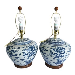 Ralph Lauren Nwt Blue and White Dragon Lamps - Pair For Sale