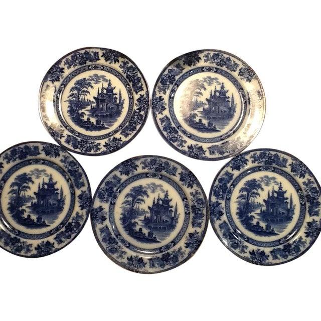 Doulton Madras Flow Blue Dinner Plates - Set of 5 - Image 1 of 5
