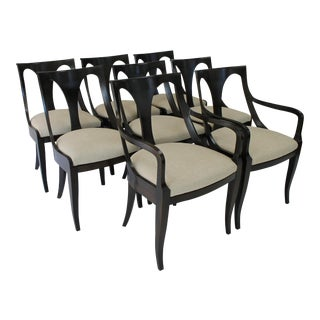 Kindel French Empire Style Ebony Stained Dining Chairs - Set of 8 For Sale
