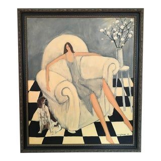 Woman W/ Dog by Al Lofsness, 2003 For Sale