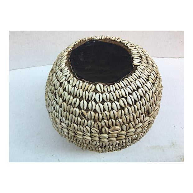 Nigerian Tribal Cowry Shell Basket For Sale - Image 5 of 5