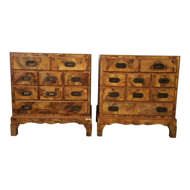 Italian Campaign Style Burlwood Patch Chest / Nightstands - a Pair For Sale