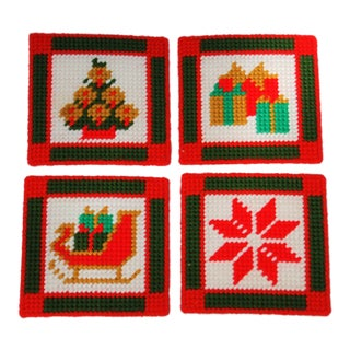 Vintage Handmade Needlepoint Holiday Coasters - Set of 4 For Sale
