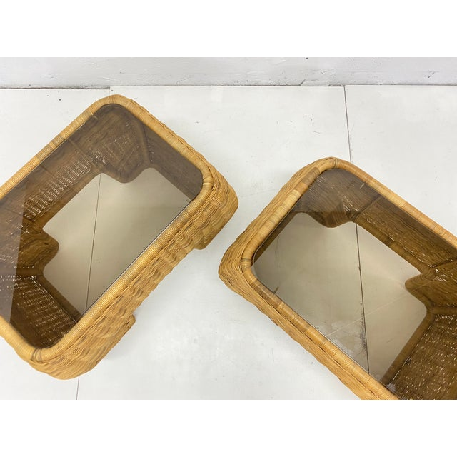 Mid-Century Modern Hand Made Sculptural Wicker Rattan Side Tables - a Pair For Sale - Image 12 of 13