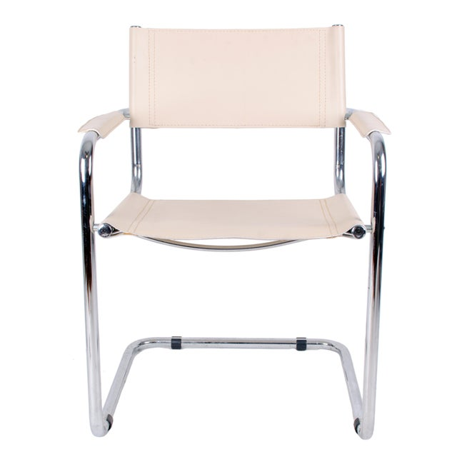 Marcel Breuer 20th Century Italian Chrome & Leather Breuer Style Armchair For Sale - Image 4 of 7
