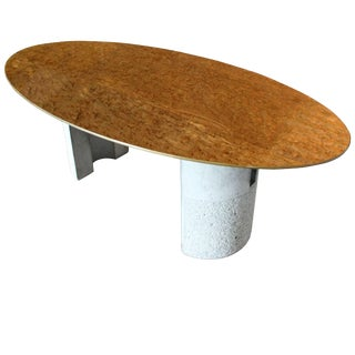 Rare Mid-Century Italian Modern Offredi for Saporiti Oval Burl Dining Table For Sale