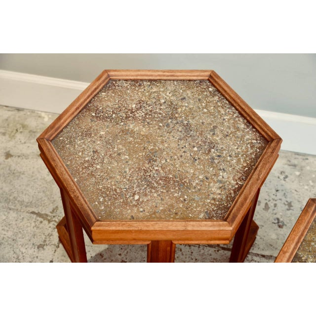 1970s John Keal for Brown Saltman Hexagonal Side Tables - a Pair For Sale - Image 5 of 8