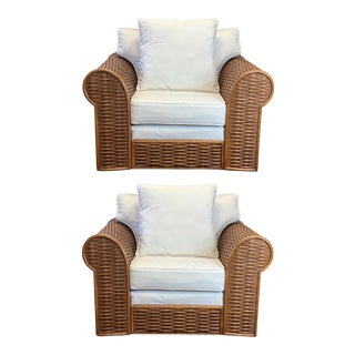 Vintage Michael Taylor Style Rattan Lounge Club Chairs - a Pair For Sale