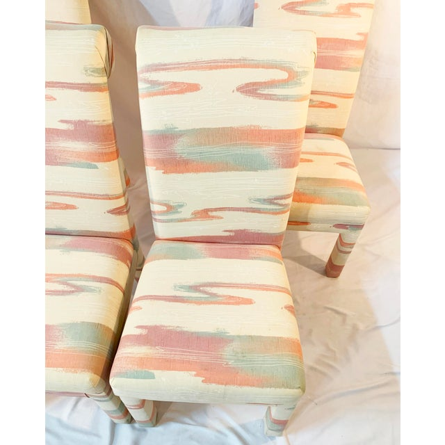 1980s Vintage Mid-Century Parsons Tufted Chairs - Set of 4 For Sale - Image 5 of 11