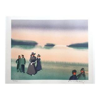 "Vintage Mid-Century Thomas Kruger Limited Edition Signed Lithograph Print "" the Beach "" For Sale"