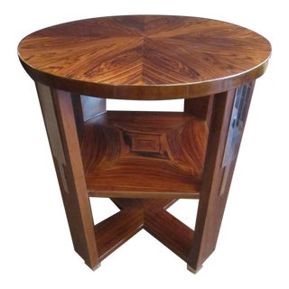 French Art Deco Parquetry Inlaid Rosewood Circular Side Table With Square Shelf For Sale