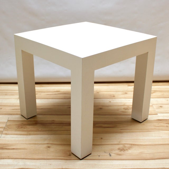 White 1973 Milo Baughman Parsons-Style Side Table For Sale - Image 8 of 8