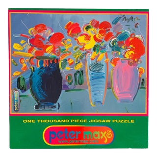 1990s Peter Max 3 Vases on Blue Acrylic on Canvas Jigsaw Puzzle For Sale