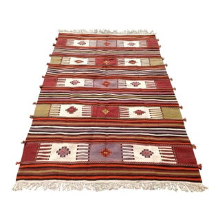 Vintage Turkish Kilim Rug - 4′10″ × 8′ For Sale