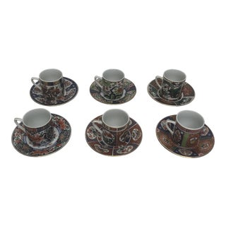 Japanese Imari Pattern Demitasse Cups & Saucers - Set of 6 For Sale