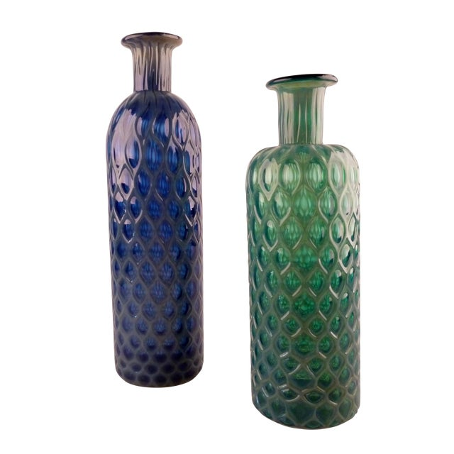 Green And Blue Hand Blown Glass Vases Set Of 2 Chairish