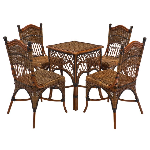 English Wicker Chairs and Table Set For Sale - Image 10 of 10
