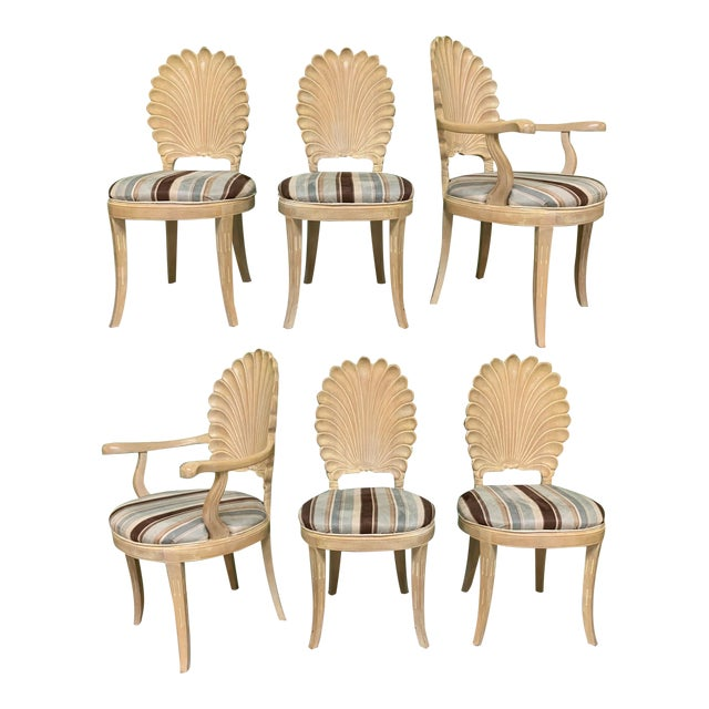 Italian Decorative Venetian Shell Back Dining Chairs, Set of 6 For Sale