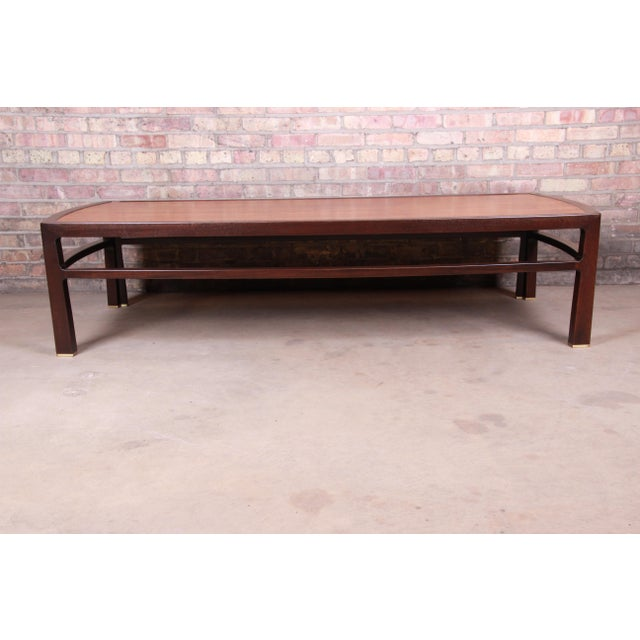 Mid-Century Modern Edward Wormley for Dunbar Monumental Rosewood and Walnut Coffee Table, Newly Restored For Sale - Image 3 of 13