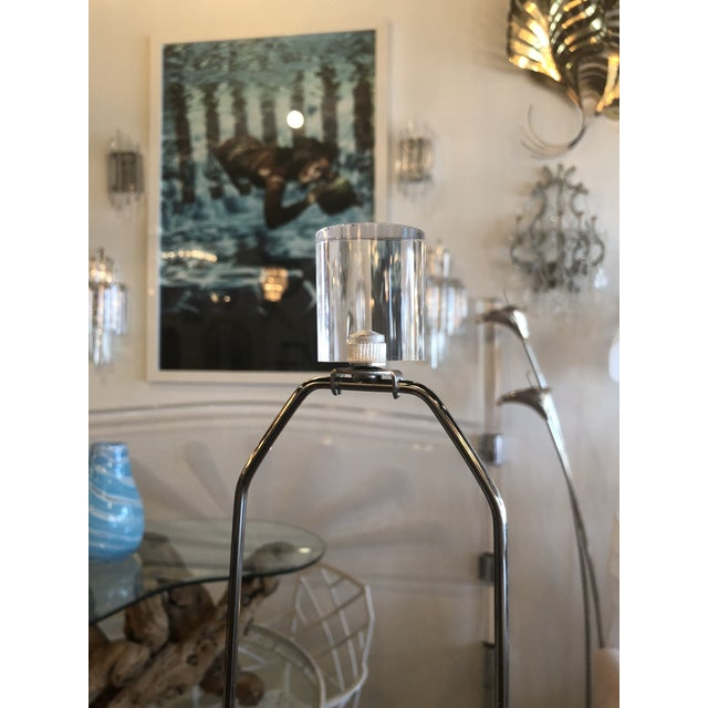 Silver Vintage Murano Frosted Glass Chrome Lucite Table Lamps - A Pair For Sale - Image 8 of 11