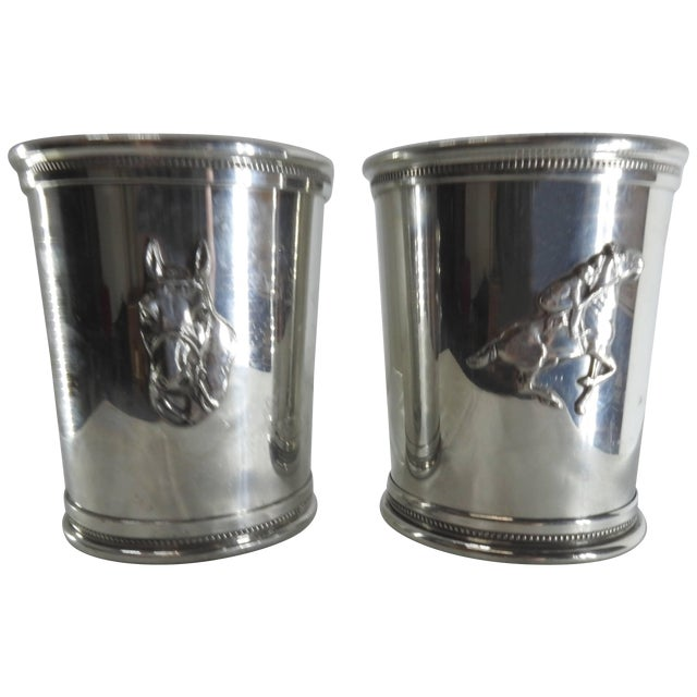 Pair of Pewter Boardman Governor's Cup Mint Julep Cups With Horse Motifs