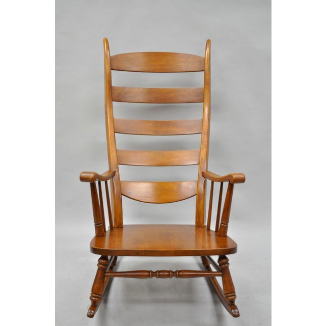 Americana Mid-Century Tell City Maple Sculptural Ladder Back Rocking Chair For Sale - Image 3 of 11