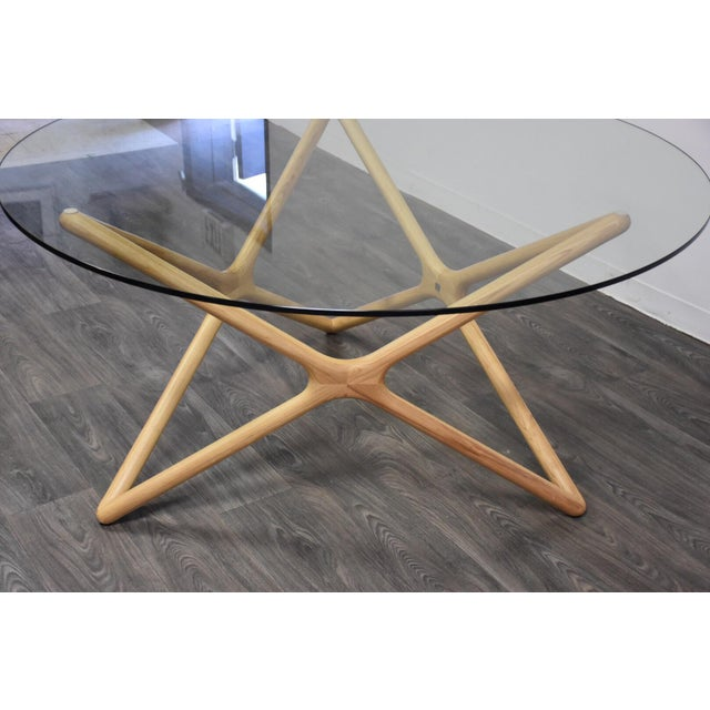 "Gold Sculpted Ash and 59"" Round Glass Dining Table For Sale - Image 8 of 10"