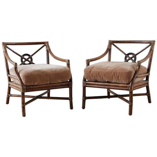 Pair of McGuire Bamboo Rattan Target Lounge Chairs For Sale - Image 13 of 13
