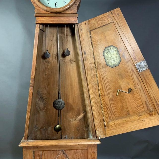 Brown Gustavian 1810 Mora Longcase Pinewood Clock, Sweden For Sale - Image 8 of 13