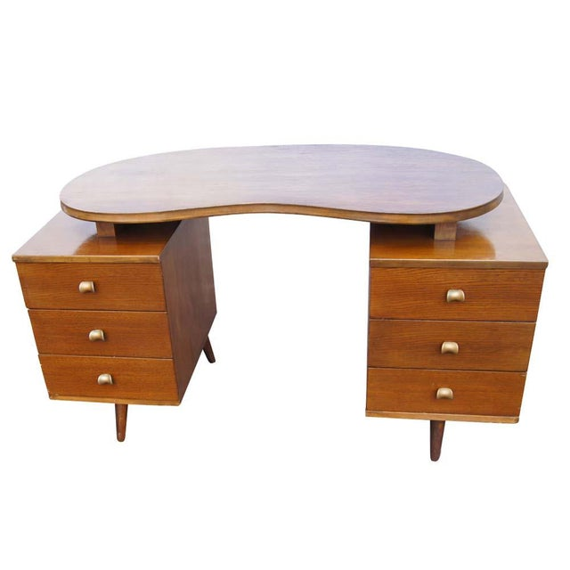 Mid-Century Modern Mid Century Modern Oak Vanity and Chair - 2 Pieces For Sale - Image 3 of 11