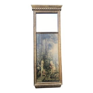 Florentine Trumeau Style Mirror With Decoupage Insert For Sale