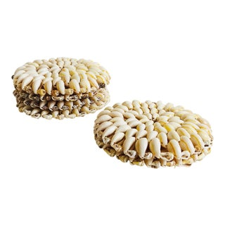 Vintage Shell Coasters - Set of 6 For Sale