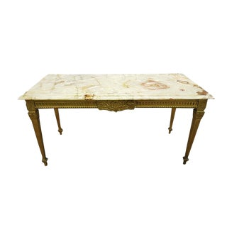 Vintage French Neoclassical Louis XVI Style Italian Marble Top Brass Side Table For Sale