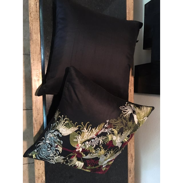 Black Pair of Rodeo Home Beverly Hills Embroidered Flora and Fauna Throw Pillows For Sale - Image 8 of 9