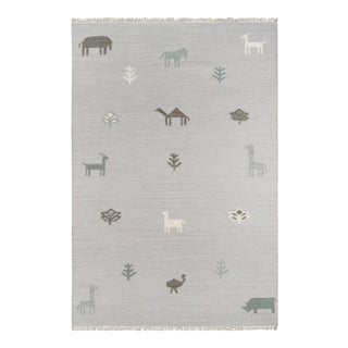"Erin Gates by Momeni Thompson Porter Grey Hand Woven Wool Area Rug - 3'6"" X 5'6"" For Sale"