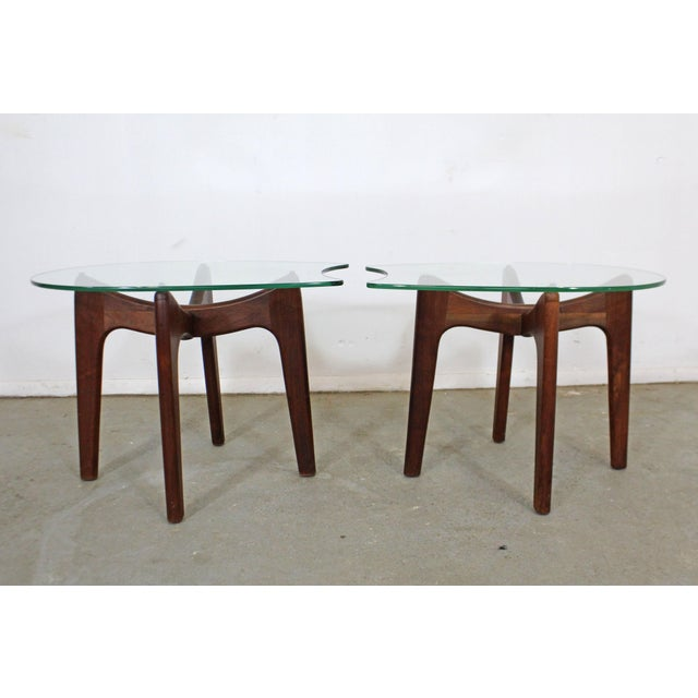 Craft Associates Pair of Mid-Century Danish Modern Adrian Pearsall Stingray Glass Top End Tables For Sale - Image 4 of 13