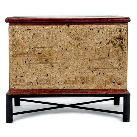 19th Century Teak Red Lacquer and Gold Leaf Manuscript Chest For Sale In Tulsa - Image 6 of 6
