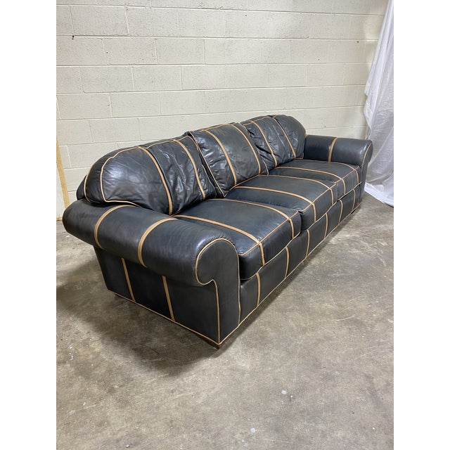 Michael Thomas Onyx Leather Sofa For Sale - Image 13 of 13