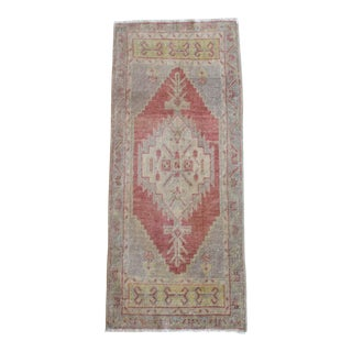 Hand Knotted Door Mat, Entryway Rug, Bath Mat, Kitchen Decor, Small Rug, Turkish Rug - 1′7″ × 3′9″ For Sale