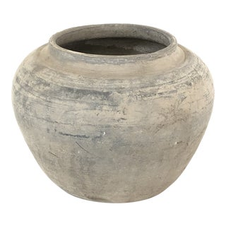 Antique Weathered Gray Pot For Sale