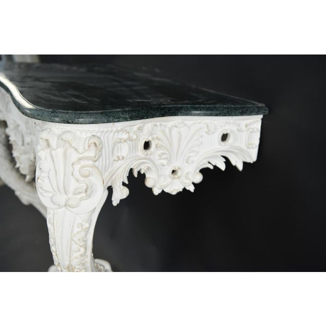 Italian 20th Century Shell Carved Italian Marble Wall Console For Sale - Image 3 of 8