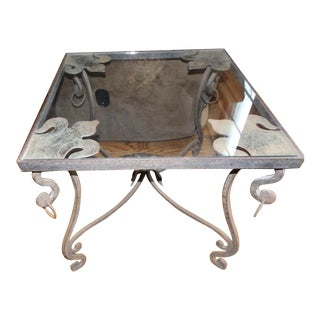20th Century French Provincial Hand Crafted Wrought Iron Fleur De Lis Detail Glass Top End Table For Sale