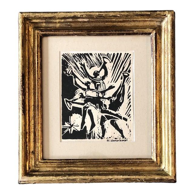 Vintage Original Woodblock Print Horned Jazz Band Signed For Sale