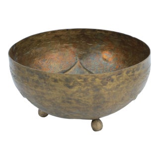 Bida Tooled Brass Footed Bowl For Sale