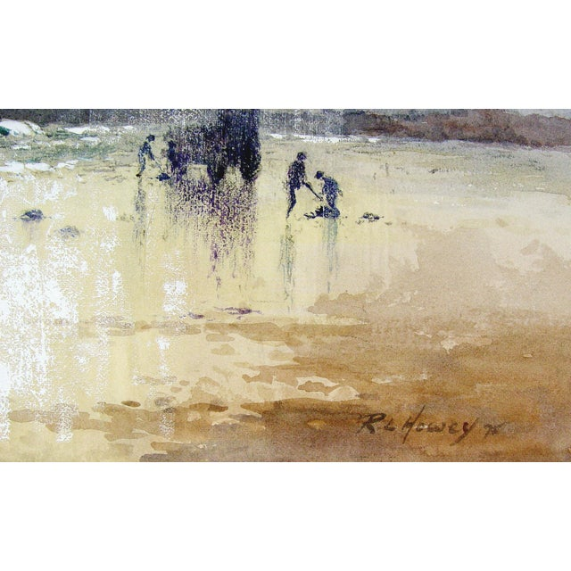 """Sunrise Clam Digging by Robert Leslie Howey (British 1900-1981). Watercolor and gouache on paper, signed lower right """"R...."""